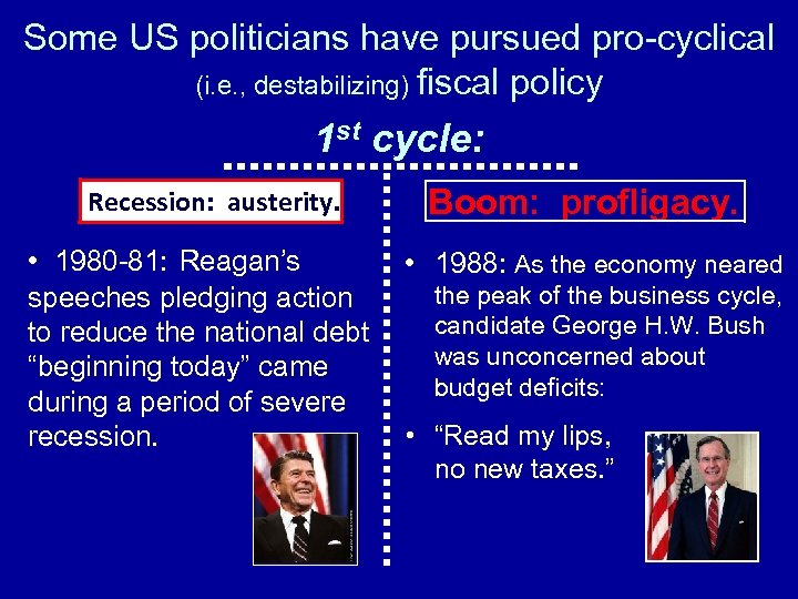 Some US politicians have pursued pro-cyclical (i. e. , destabilizing) fiscal policy 1 st