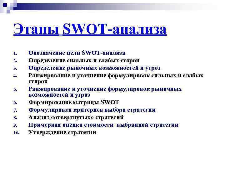 Этапы SWOT-анализа 1. 2. 3. 4. 5. 6. 7. 8. 9. 10. Обозначение цели