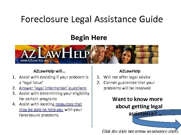 Foreclosure Legal Assistance Guide Begin Here 1. 2. 3. 4. AZLaw. Help will… Assist