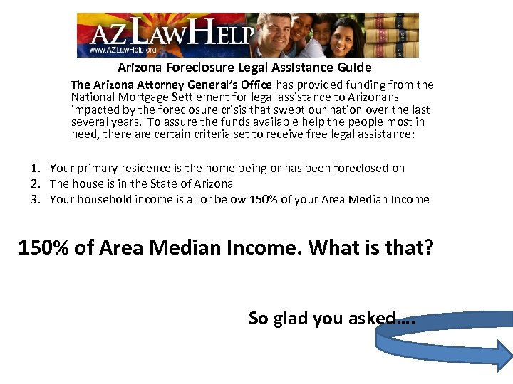 Arizona Foreclosure Legal Assistance Guide The Arizona Attorney General's Office has provided funding from