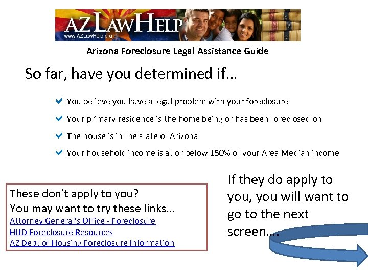 Arizona Foreclosure Legal Assistance Guide So far, have you determined if… a. You believe