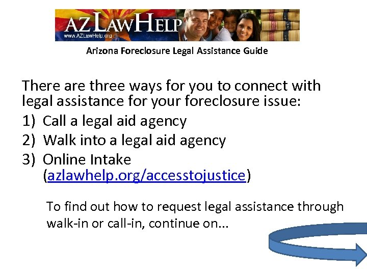 Arizona Foreclosure Legal Assistance Guide There are three ways for you to connect with