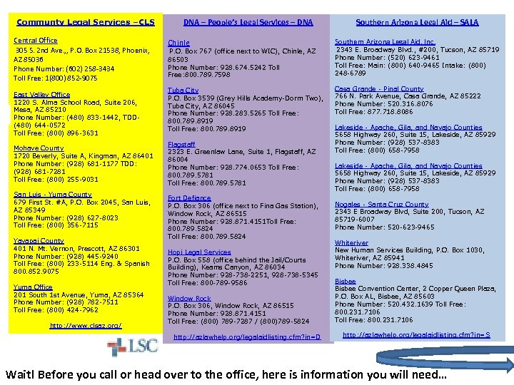 Communty Legal Services –CLS Central Office 305 S. 2 nd Ave. , , P.