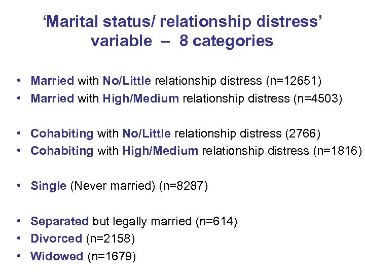 'Marital status/ relationship distress' variable – 8 categories • Married with No/Little relationship distress