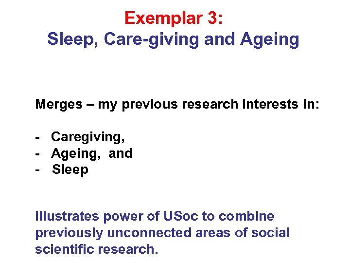 Exemplar 3: Sleep, Care-giving and Ageing Merges – my previous research interests in: -