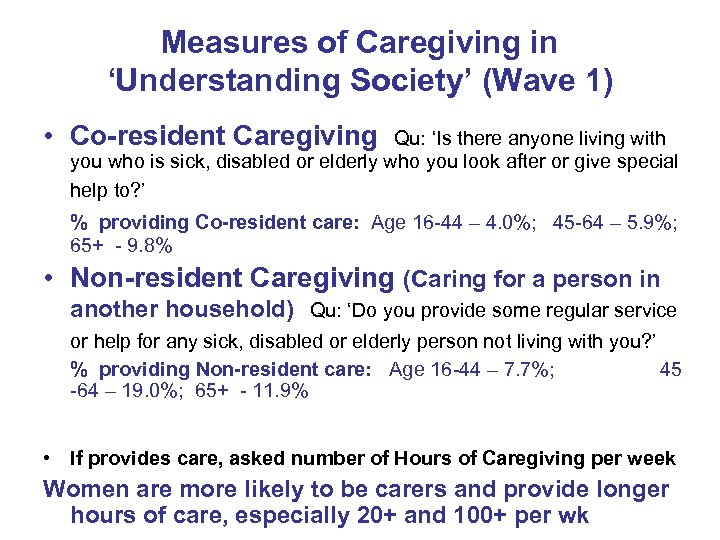 Measures of Caregiving in 'Understanding Society' (Wave 1) • Co-resident Caregiving Qu: 'Is there