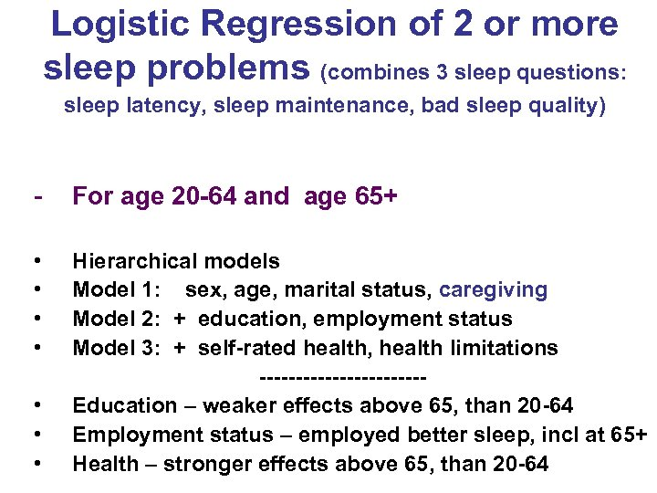 Logistic Regression of 2 or more sleep problems (combines 3 sleep questions: sleep latency,