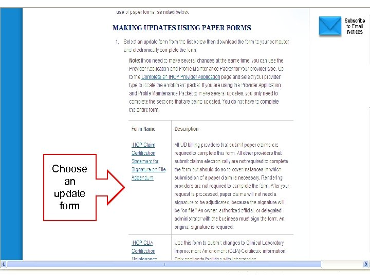 Choose an update form 10 Footer Goes Here
