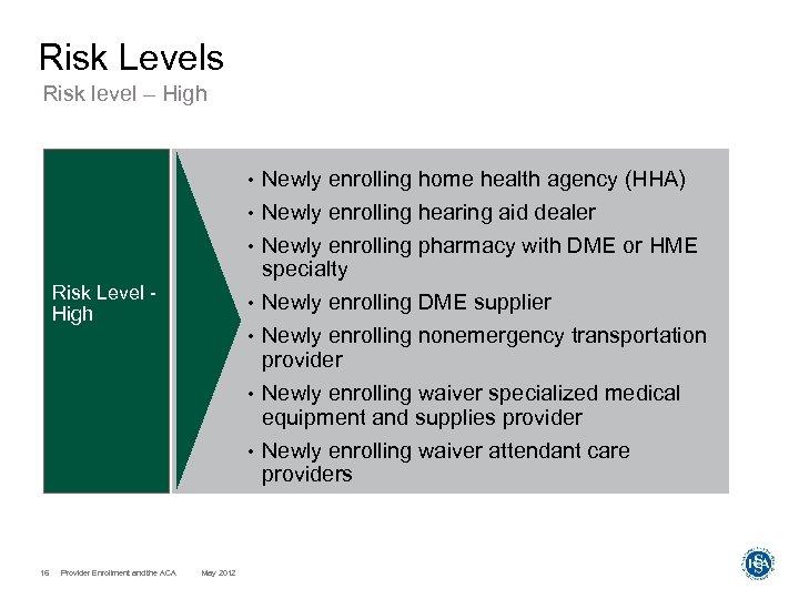Risk Levels Risk level – High • • Newly enrolling hearing aid dealer •