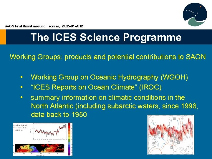 SAON First Board meeting, Tromsø, 24/25 -01 -2012 The ICES Science Programme Working Groups: