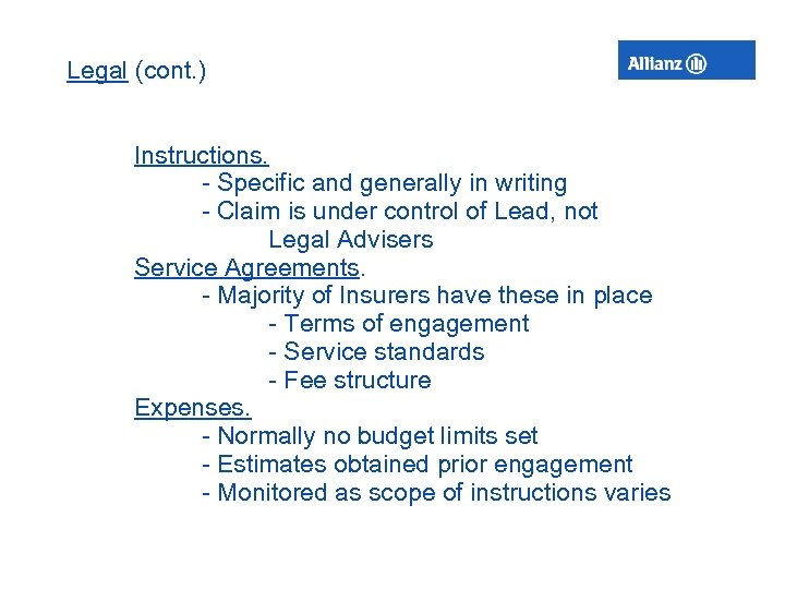 Legal (cont. ) Instructions. - Specific and generally in writing - Claim is under