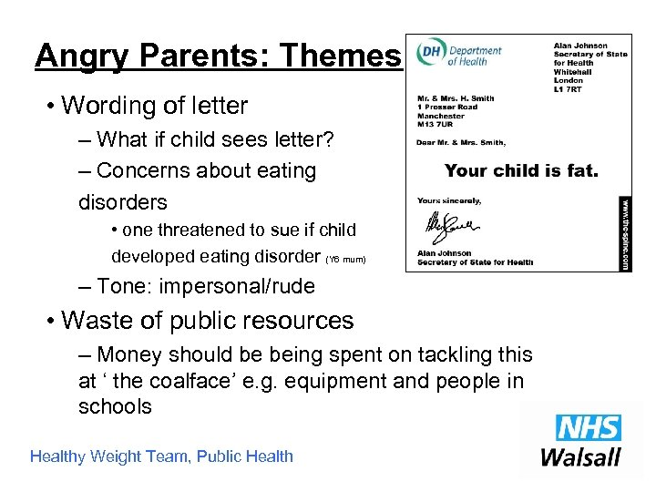 Angry Parents: Themes • Wording of letter – What if child sees letter? –