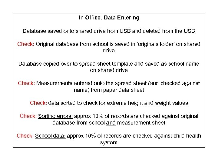 In Office: Data Entering Database saved onto shared drive from USB and deleted from