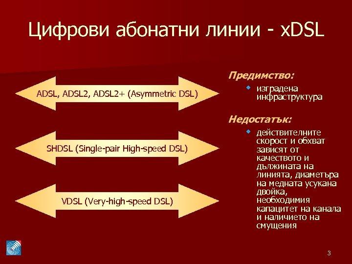Цифрови абонатни линии - x. DSL ADSL, ADSL 2+ (Asymmetric DSL) Предимство: w изградена