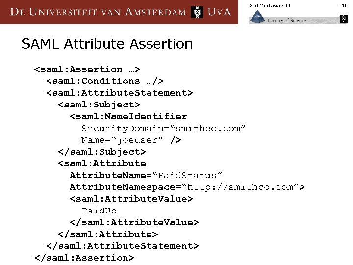 Grid Middleware III SAML Attribute Assertion <saml: Assertion …> <saml: Conditions …/> <saml: Attribute.