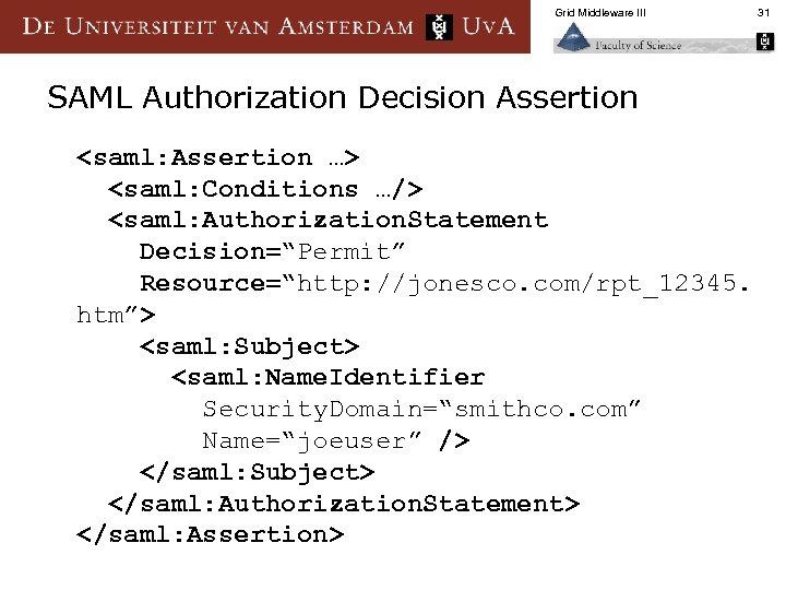 Grid Middleware III SAML Authorization Decision Assertion <saml: Assertion …> <saml: Conditions …/> <saml: