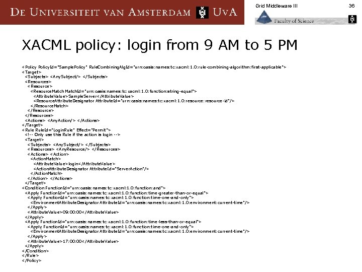 Grid Middleware III XACML policy: login from 9 AM to 5 PM <Policy. Id=