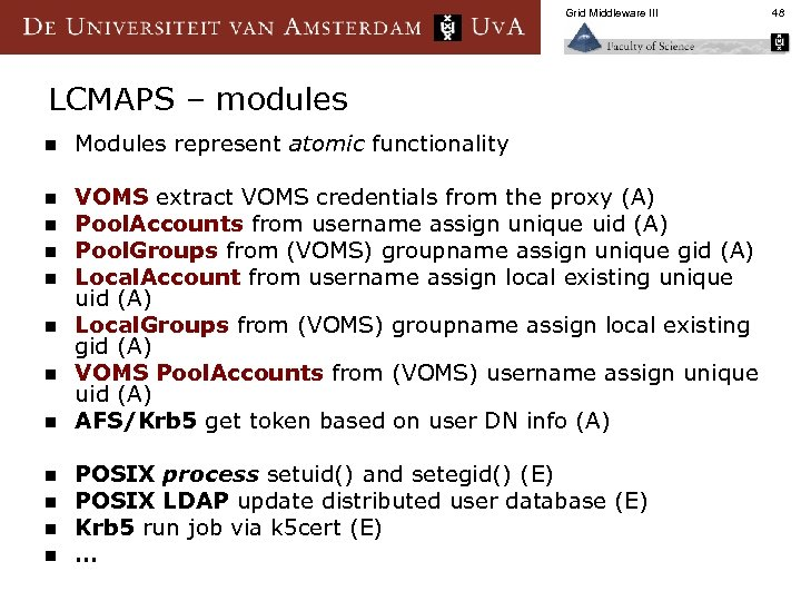 Grid Middleware III LCMAPS – modules n Modules represent atomic functionality n VOMS extract