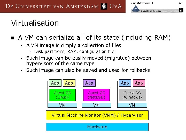 Grid Middleware III Virtualisation n A VM can serialize all of its state (including