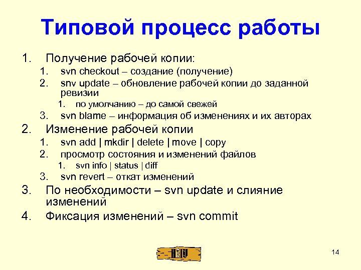 Типовой процесс работы 1. Получение рабочей копии: 1. 2. svn checkout – создание (получение)