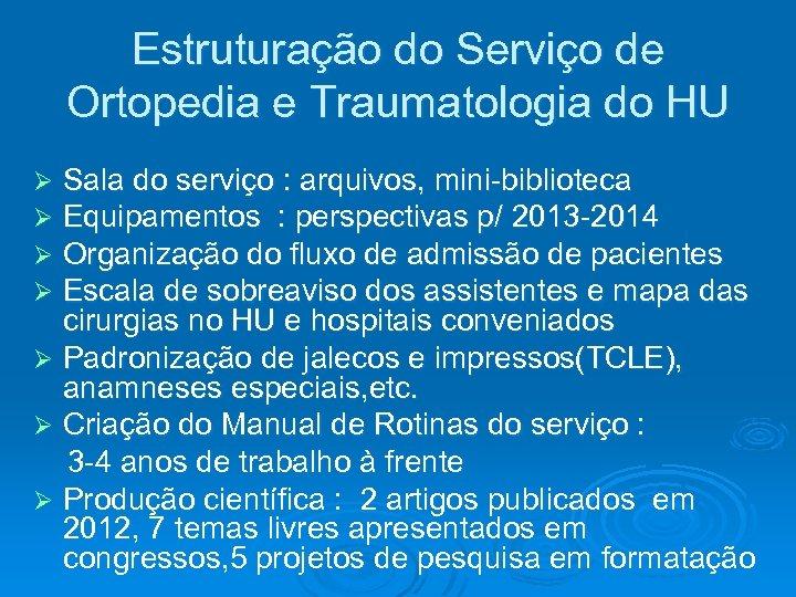 Estruturação do Serviço de Ortopedia e Traumatologia do HU Sala do serviço : arquivos,