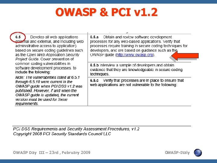 OWASP & PCI v 1. 2 OWASP Day III – 23 rd , February