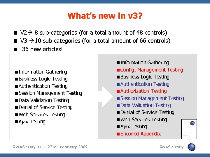 What's new in v 3? < V 2 8 sub-categories (for a total amount