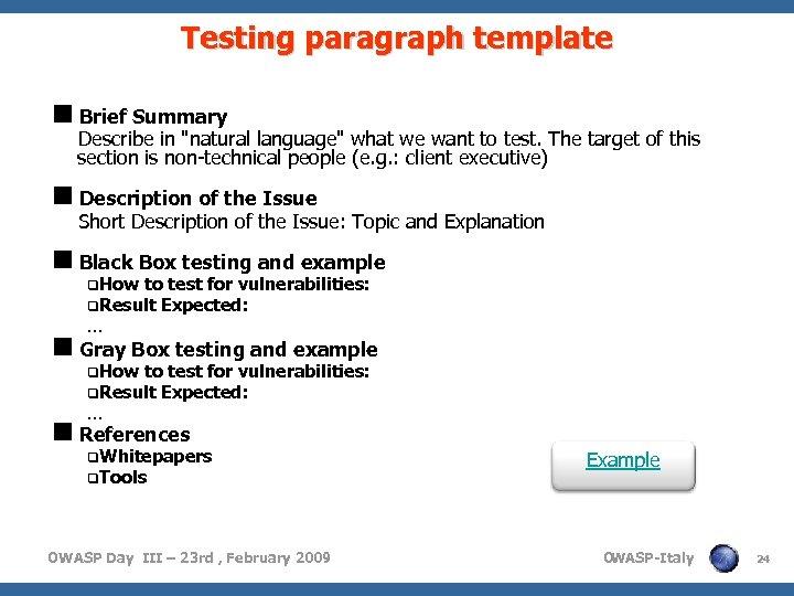 Testing paragraph template <Brief Summary Describe in