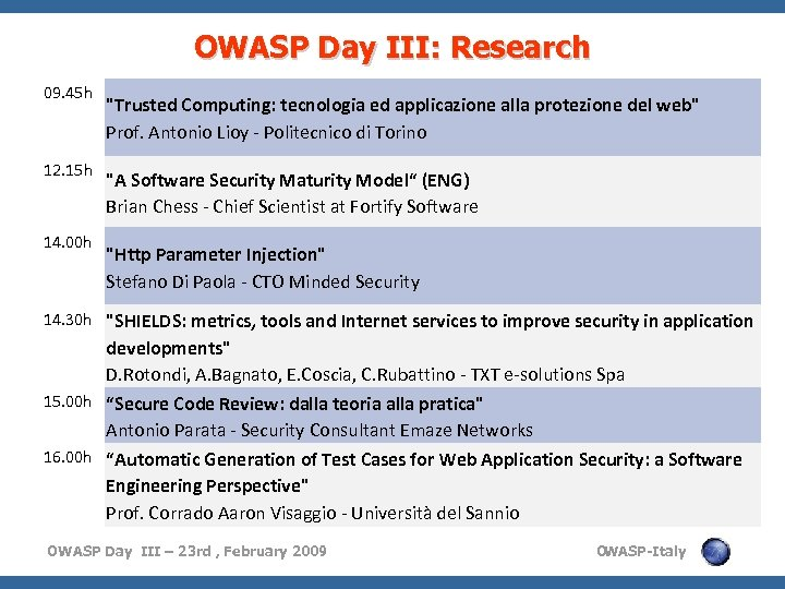 OWASP Day III: Research 09. 45 h 12. 15 h 14. 00 h