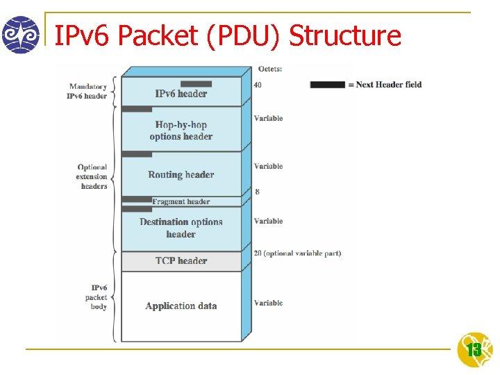 IPv 6 Packet (PDU) Structure 13