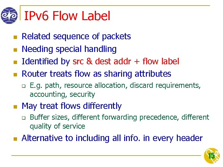 IPv 6 Flow Label n n Related sequence of packets Needing special handling Identified
