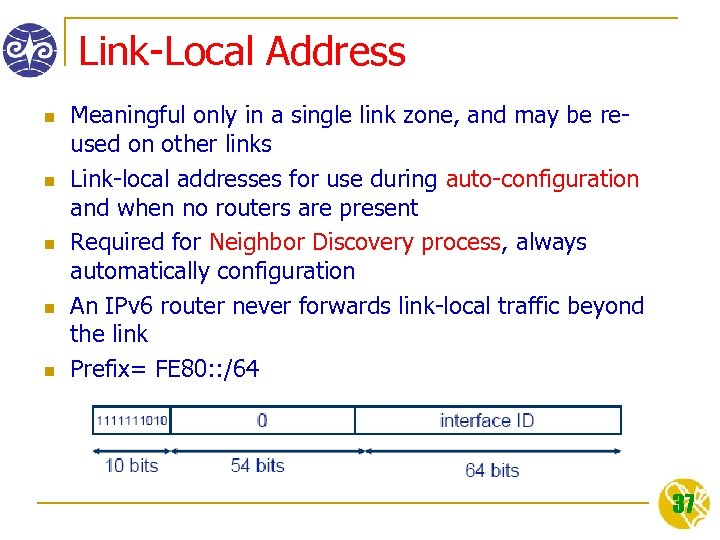 Link-Local Address n n n Meaningful only in a single link zone, and may