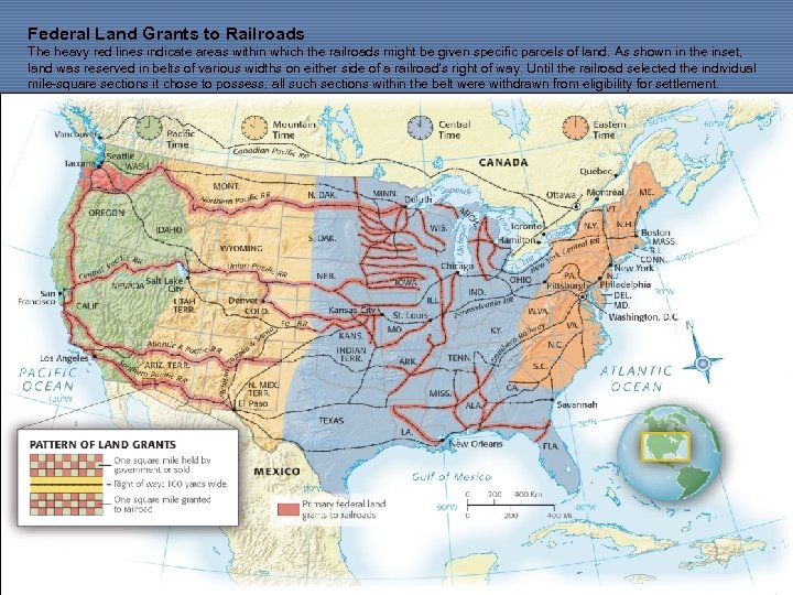 Federal Land Grants to Railroads The heavy red lines indicate areas within which the