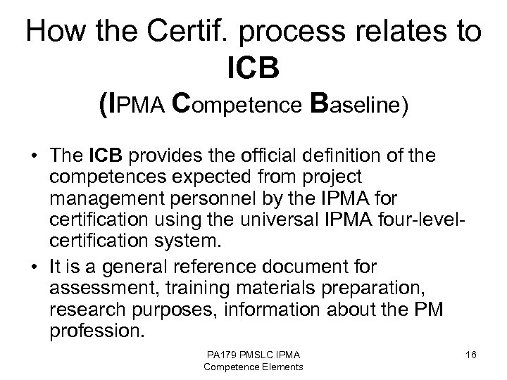 Pppm Competence Elements Pm Standards Icb Ipma