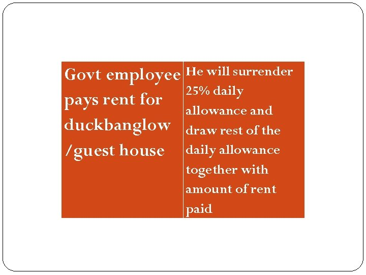 Govt employee He will surrender 25% daily pays rent for allowance and duckbanglow draw