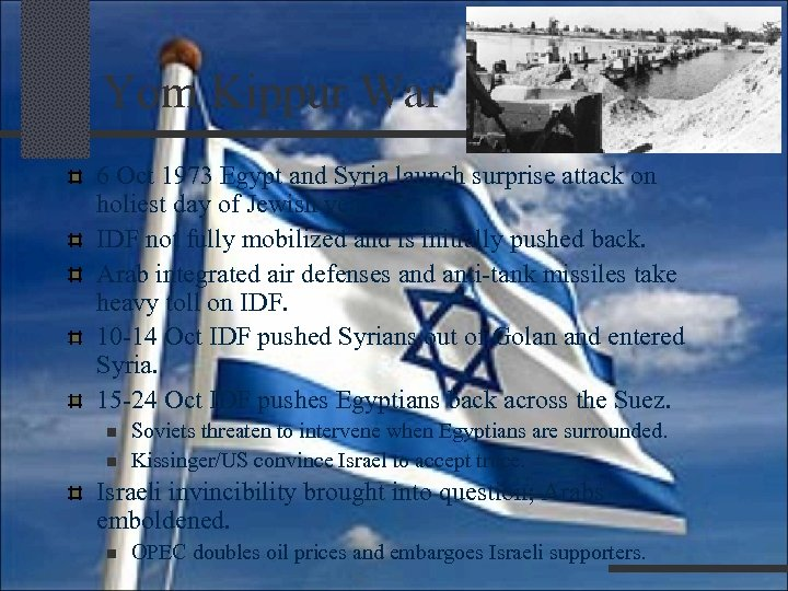 Yom Kippur War 6 Oct 1973 Egypt and Syria launch surprise attack on holiest