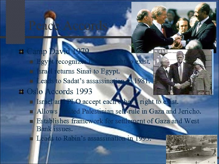 Peace Accords Camp David 1979 n n n Egypt recognizes Israel's right to exist.
