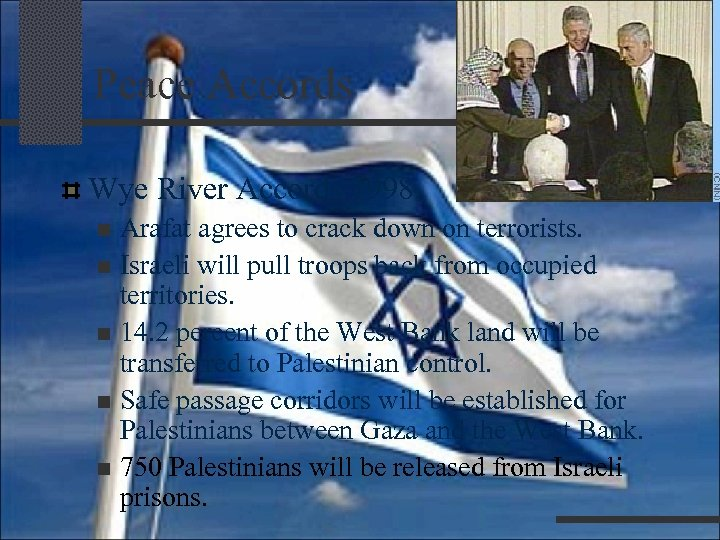 Peace Accords Wye River Accords 1998 Arafat agrees to crack down on terrorists. n