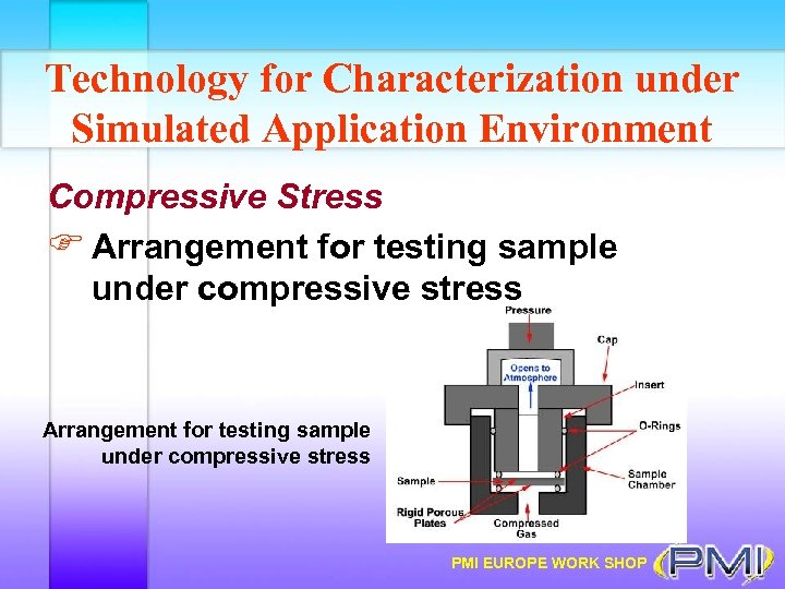 Technology for Characterization under Simulated Application Environment Compressive Stress F Arrangement for testing sample