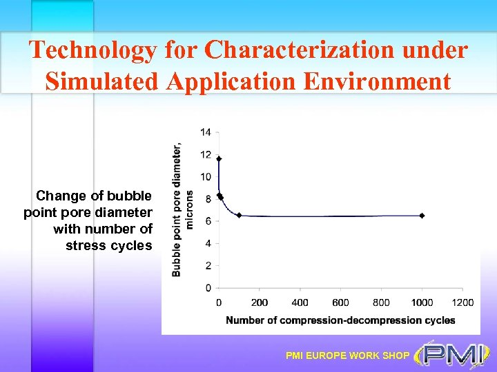 Technology for Characterization under Simulated Application Environment Change of bubble point pore diameter with
