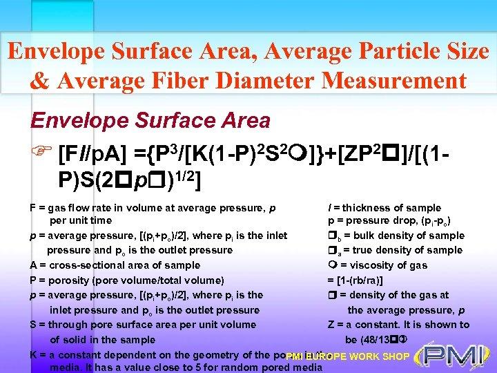 Envelope Surface Area, Average Particle Size & Average Fiber Diameter Measurement Envelope Surface Area