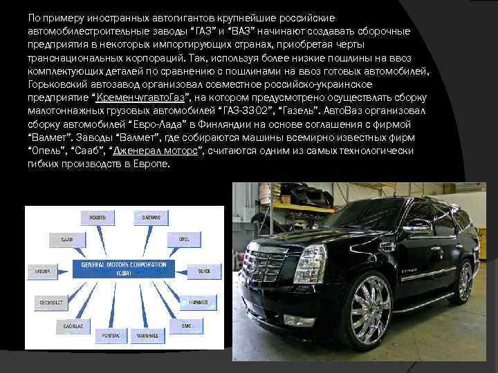 """По примеру иностранных автогигантов крупнейшие российские автомобилестроительные заводы """"ГАЗ"""" и """"ВАЗ"""" начинают создавать сборочные"""
