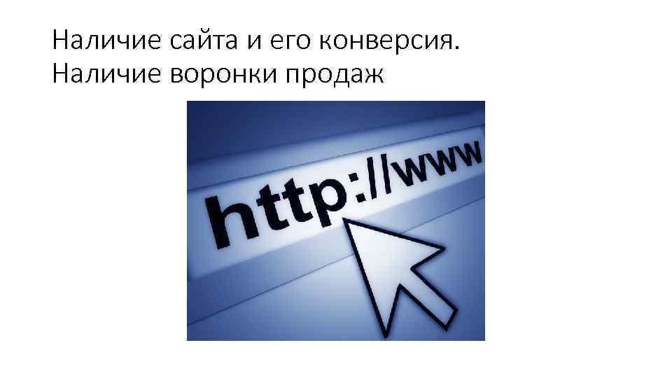 Наличие сайта и его конверсия. Наличие воронки продаж