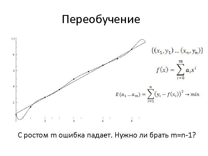 Переобучение С ростом m ошибка падает. Нужно ли брать m=n-1?