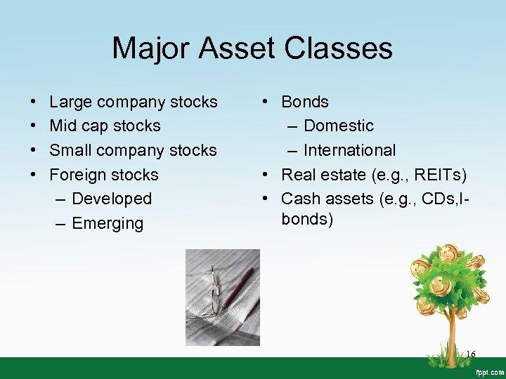 Major Asset Classes • • Large company stocks Mid cap stocks Small company stocks