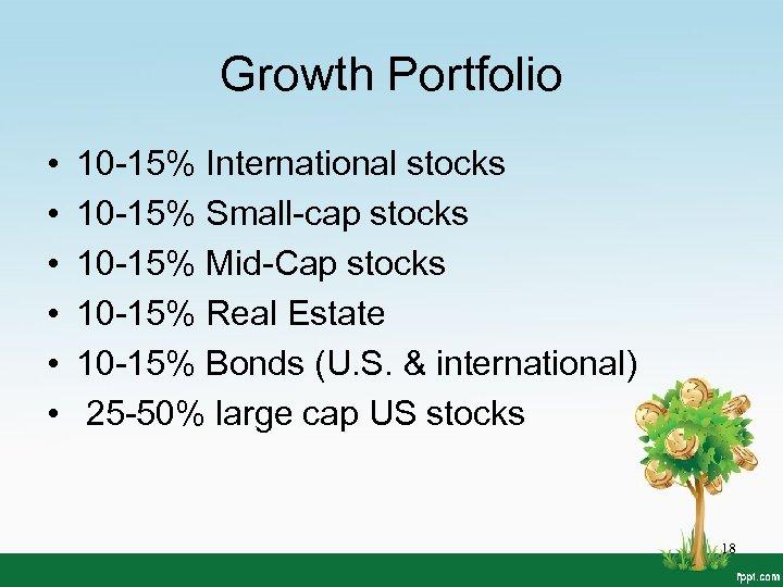 Growth Portfolio • • • 10 -15% International stocks 10 -15% Small-cap stocks 10