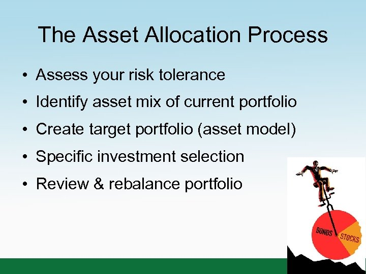 The Asset Allocation Process • Assess your risk tolerance • Identify asset mix of