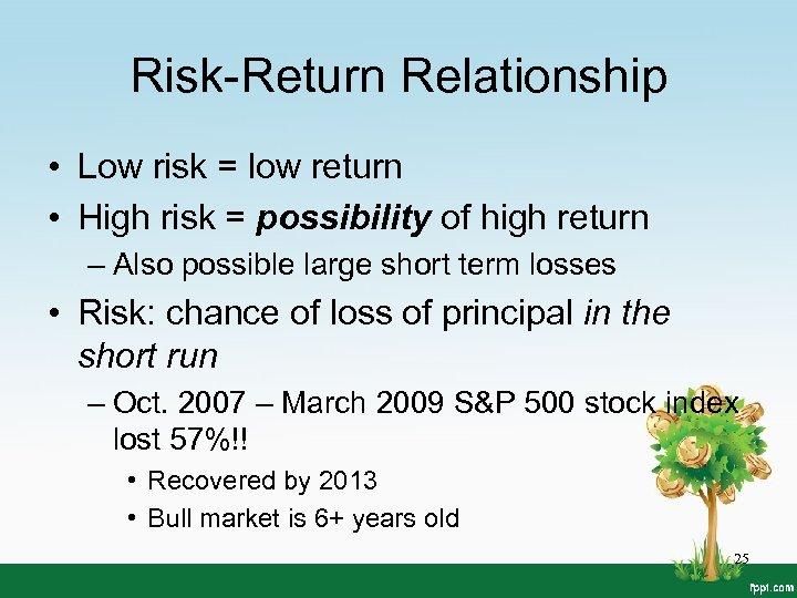Risk-Return Relationship • Low risk = low return • High risk = possibility of