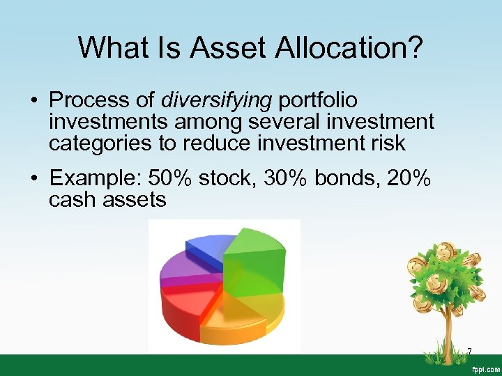 What Is Asset Allocation? • Process of diversifying portfolio investments among several investment categories