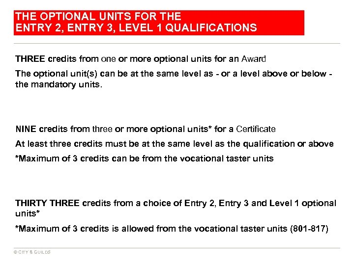 THE OPTIONAL UNITS FOR THE ENTRY 2, ENTRY 3, LEVEL 1 QUALIFICATIONS THREE credits